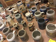 Lot with 45 old beer mugs