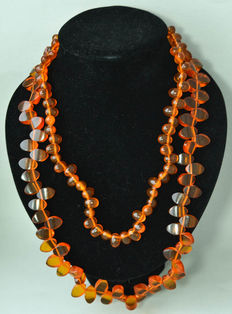 Vintage of Baltic amber necklaces, 100% natural butterscotch, honey colour, oval faceted beads, total: 112 gram