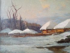 Unknown (19th/20th century) - Winter forest with log cabins
