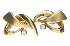 Yellow gold ear studs, each set with a brilliant cut diamond of approx. 0.01 ct.
