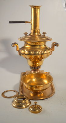 Antique samovar made of brass from Batashev - Tula, Russia - 19th century