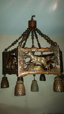 Black Forest carved lamp - around1920