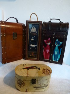 A lot of four wooden wine cases-wood, brass, leather