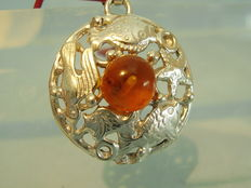 Amber pendant 835 silver around 1930