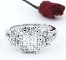 White gold  1.06 ct. Center Solitaire diamond ring with Side diamonds of 0.96 ct. -Total diamond weight 2.02 ct.