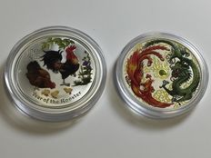 Australia - 2 x 1 AUD $ Lunar II Rooster + Phoenix and Dragon 2 piece a 1 oz - in noble colours