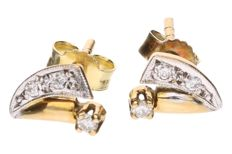 Yellow gold ear studs each set with 3 brilliant cut diamonds, approx. 0.04 ct in total