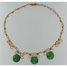 Gold necklace with 3 jade pendants