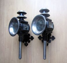 Pair of antique carriage lamps, ca. 1900, the Netherlands.