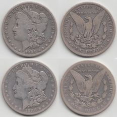 United States – Dollar 1884 and 1886o (Morgan) – silver