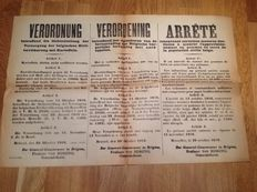 Belgian 5 posters in 3 languages printed by the Germans in 1914-1918