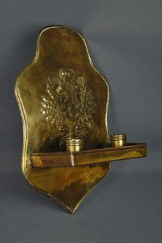 Brass double wall sconce with coat of arms - 19th century
