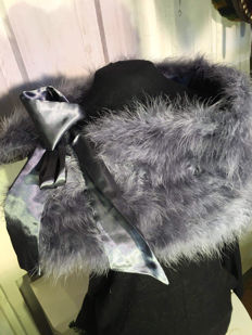 Large fox fur scarf with sash