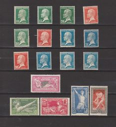 France 1923/1926 - complete set Pasteur, Paris Olympics and Merson 20fr - Yvert n° 170/181, 183/186 and 208