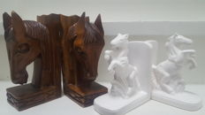 Wooden and ceramic bookends,horses heads -2nd half of 20th century