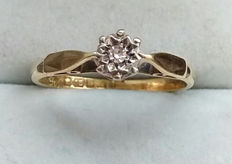 18kt Gold Solitaire Diamond Ring - Dated 1897