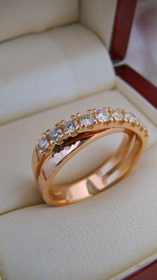 Ring with 9 brilliants of approx. 0.50 ct in total VVS- Massive Croisé ring Gold 585