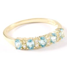 14kt Yellow Gold Ring  Set with Blue Topaz and White Sapphire