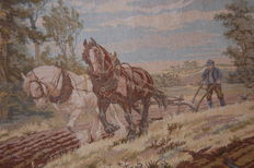 Horse & farmer - Woven tapestry - Belgium - second half of 20th century