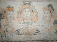 Oblong, square temple cloth (Tabing) - Kamasan - Bali - Indonesia