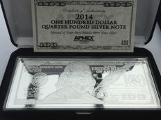 bank note $ 100 made of pure 999 silver, 4 oz 2014 with box and certificate