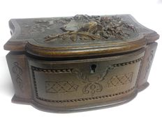 Woden box worked with relief decorations - France - 19th century