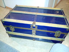 Antique large metal studded chest