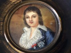 French School - Louis XVII, Dauphin of France - portrait miniature on ivory - 19th century