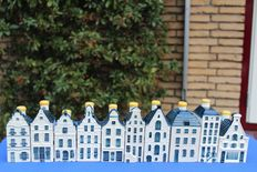 10 miniature KLM houses (BOLS) Delft Blue + mini catalogue / booklet