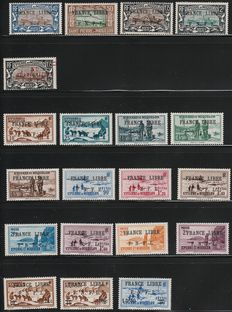 Former French colonies, Saint Pierre and Miquelon 1941/1942 – Stamps overprinted with 'France Libre' – Regular mail
