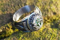 US - Special Forces Ring green beret - surgical steel ring - 20th century.