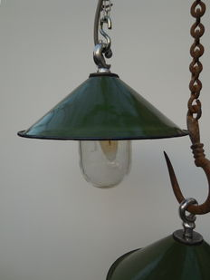 Unknown designer - pair of enamel, English, industrial, factory lamps, 1940s.