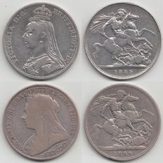 Great Britain - Crown 1889 and 1899, silver