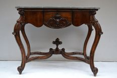 Solid dark Walnut console table with gray marble top shaped, Louis Philippe style, Italy, 20th c.
