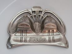 Silver pewter ink set in Art Nouveau style