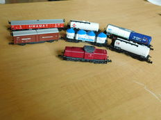 Arnold/Minitrix/e.a. N - Diesel locomotive  BR211 and 6 different goods-wagons of the  DB