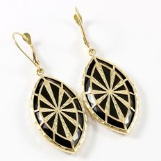 Estate Yellow Gold  Earrings with Onyx