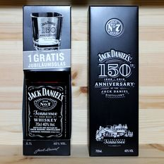 """2 bottles Jack Daniels 150th Anniversary """"1866-2016"""": 1. Gift box with Glas + 2. Gift Metal Box, 2x70cl, 2x40%vol., sold out"""