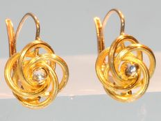 Victorian twisted gold earrings with imitation diamonds