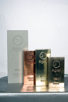 Investment package: 4 x 1 kg brand new ingots (bronze, copper, aluminium and brass) of valuable metals from Agosi precious metals refinery