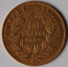 France, 10 francs, 1856A, Napoleon III, gold