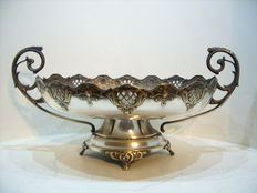 An antique silvered brass platter, classicist style, Germany, circa 1890