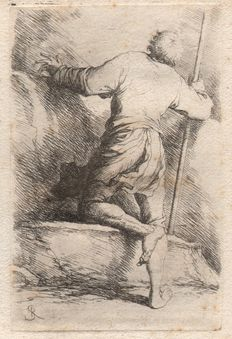 Salvator Rosa (1615-1673) - A man seen from behind - Originele 'Rosa' ets uit the figurine series - 1653/1658,