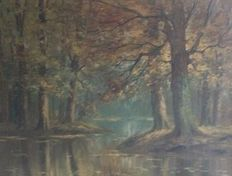Piet Bouter (1887-1968)- Forest puddle in autumn