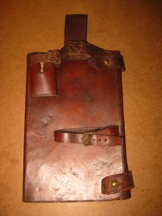 WW1 military Portugal Portuguese CEP 1916 infantry trench officers map leather cover bag pouch with  bayonet frog. extremely rare