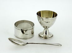 Silver Plated Tableware Set, Spoon, Napkin Ring, Egg Holder, Made in 1920's Ireland