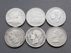 Spain – Lot of 6 units of 2 pesetas silver coins – All different.