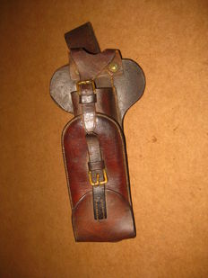 WW1 military Portugal Portuguese CEP 1916 infantry trench big pick leather cover pouch tools rare