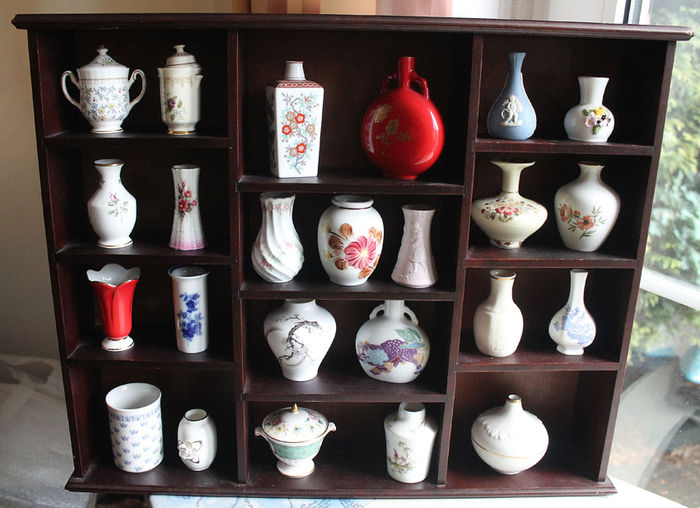 Franklin Mint - 24 vases with shelf - partly 24 k gold-plated
