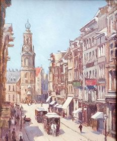 Jan Engel (20th century) - Cityscape with horse tram